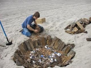 Pit Firing ceramics at the Beach
