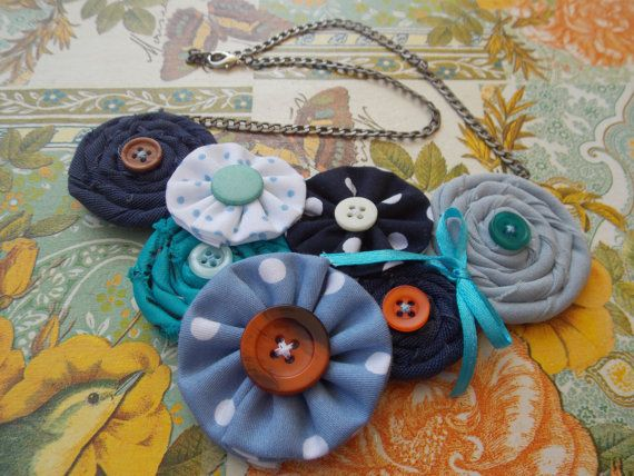 Handmade Necklace Blue As Ocean made by cotton fabric by FromIrene, €18.00