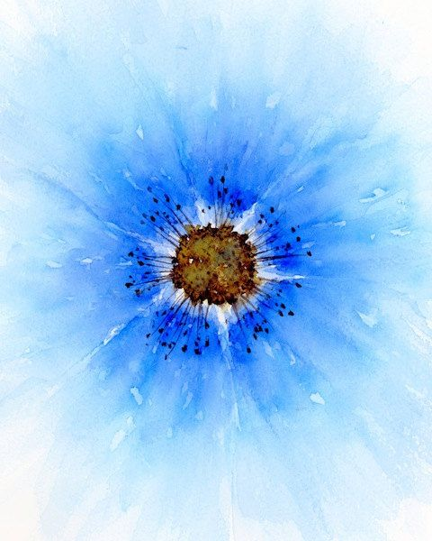 Watercolor abstract flower blue flower print by SRorickArt on Etsy