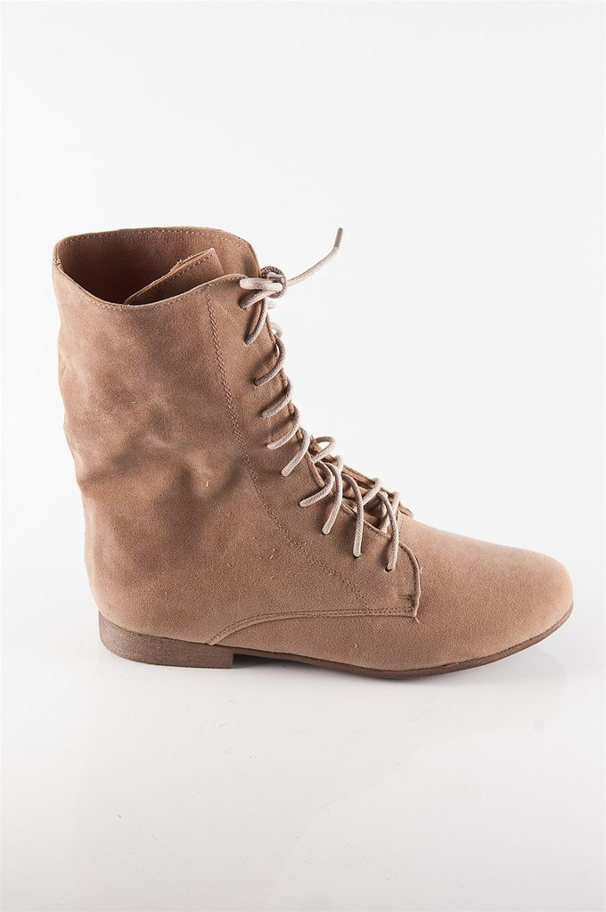 Fold-Down Flat Boots - Taupe