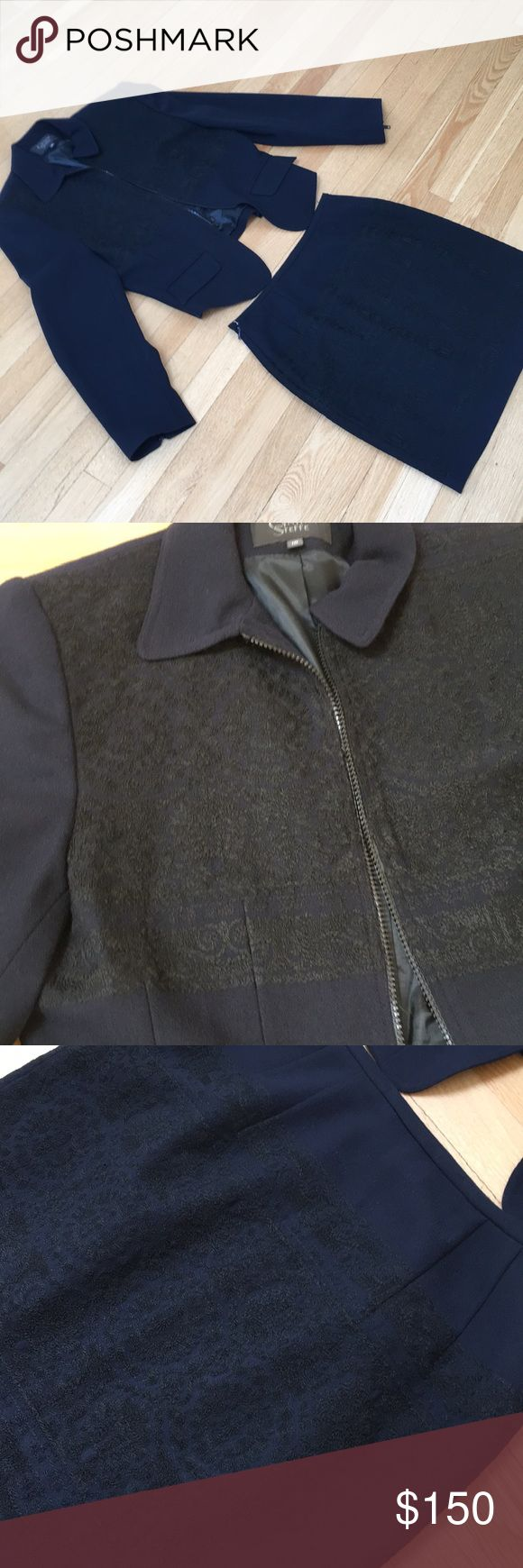 Cynthia Steffe Navy Wool Suit / black embroidery Great condition and darling short skirt suit with short crop jacket.  Super feminine and sexy!  Beautifully made! Cynthia Steffe Dresses