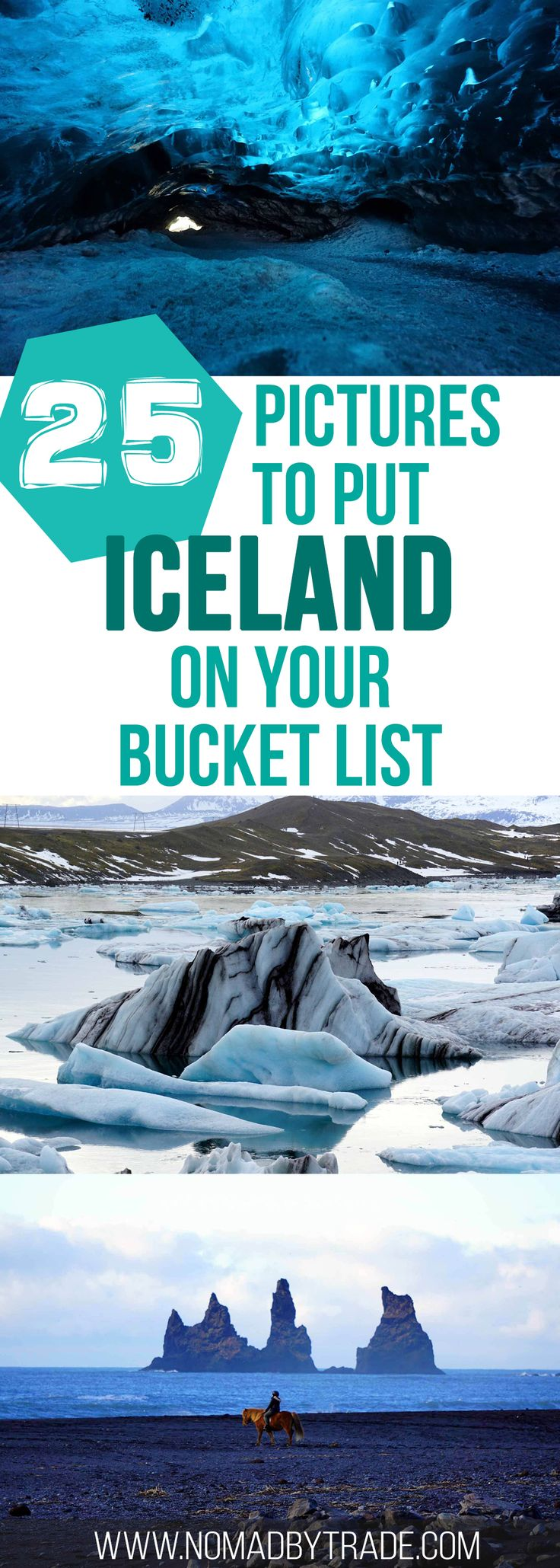 25 photos to put Iceland on your winter bucket list. Includes the Golden Circle, Blue Lagoon, Jokulsarlon, ice cave, and the Northern Lights. #Iceland | #GoldenCircle | #WinterInIceland | #Jokulsarlon | #NorthernLights | #RingRoad | #Vik | #DiamondBeach