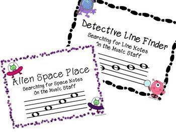 Alien Space Place-Detective Line Finder Bundle PowerPoints and Worksheets to help students learn to identify Line Notes and Space Notes