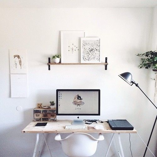 northernmoments:  From the home of Kelli Murray via Murray & Finn This exacly what I am going for with our new workspace only with string shelves and a bigger work surface (two computer screens takes a lot of space).