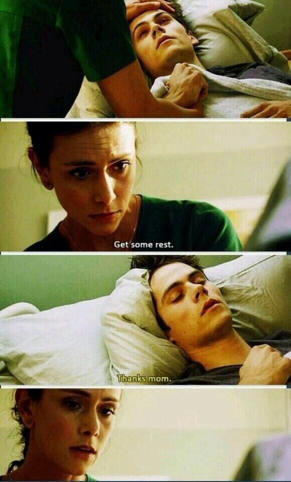 Dylan O'Brien. Mama McCall and Stiles, Teen Wolf Season 3B Silver-Finger. The feels guys ! The feels ! LOVED THIS PART