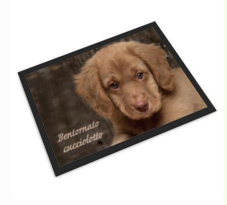 Tenerezza e benvenuto, ecco lo zerbino con la foto di un cucciolo.