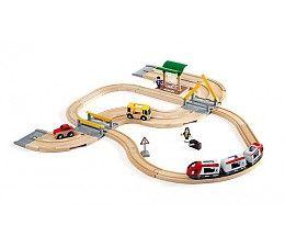 Brio 33209 treinen Rail & road travel set  Brio treinset 33209 met wegen en passagierstrein is ideaal als basis om zowel de straten als de baan uit te breiden.  Inclusief: busstation, bus, personenauto, 3 delige passagierstrein, 2 beweegbare figuren en een overweg.  http://www.brio-trein.nl/brio-treinen-33209-rail-road-travel-set.html