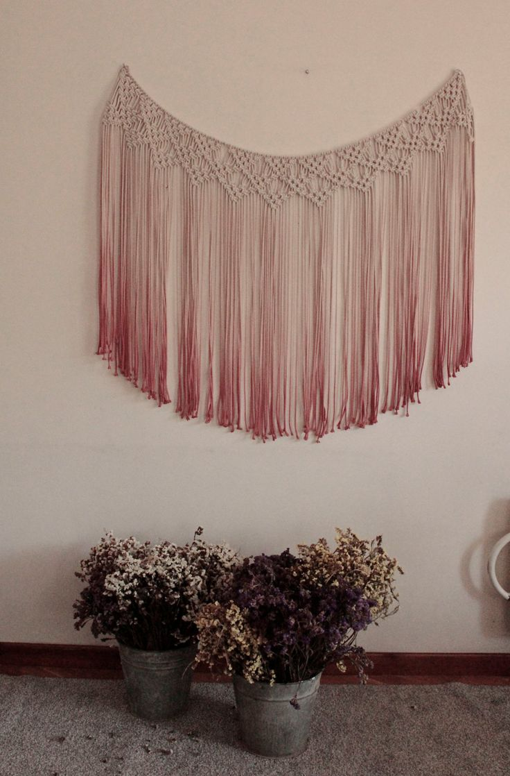 Drop cloth curtains dyed - Macrame Curtain Ombre Ombre Window Curtain By Thewovendreamfactory