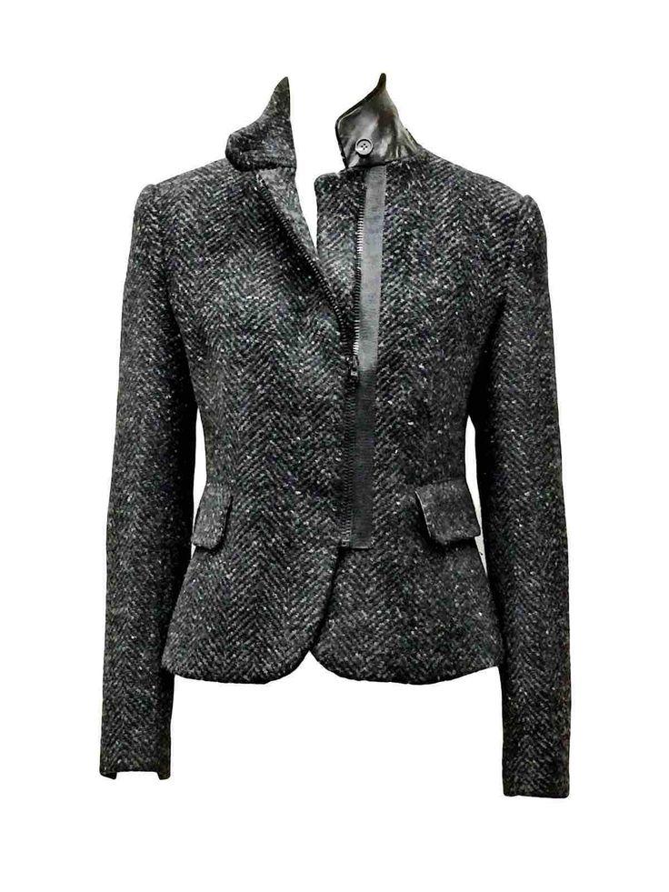 Charcoal Herringbone Tweed Blazer with leather collar by Atelieri