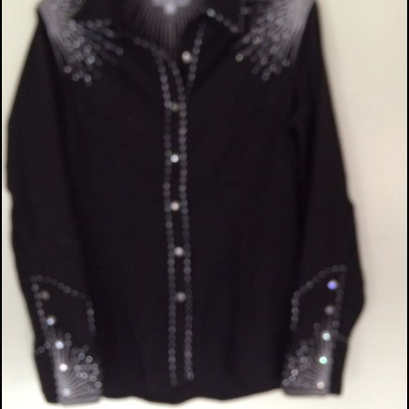Western show shirt Black western show shirt with beaded pattern on shoulders, sleeves, and across the back! Absolutely beautiful, worn only once! Sorry the picture is blurry! Tops Button Down Shirts
