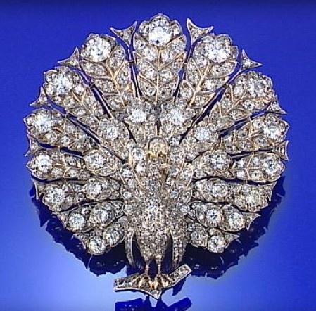 DIAMOND PEACOCK BROOCH  CIRCA 1880