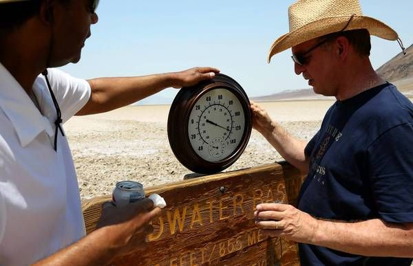 6-30-2013:  The National Weather Service's mercury thermometer recorded a peak of 128 degrees Sunday at 4 p.m in Death Valley National Park, tying the record for the hottest June day anywhere in the U.S. The National Park Service thermometer — about 200 yards away — recorded a temperature of 129.9, shattering that record. But the weather service has the final say, and its official readings won't be available until Monday morning.