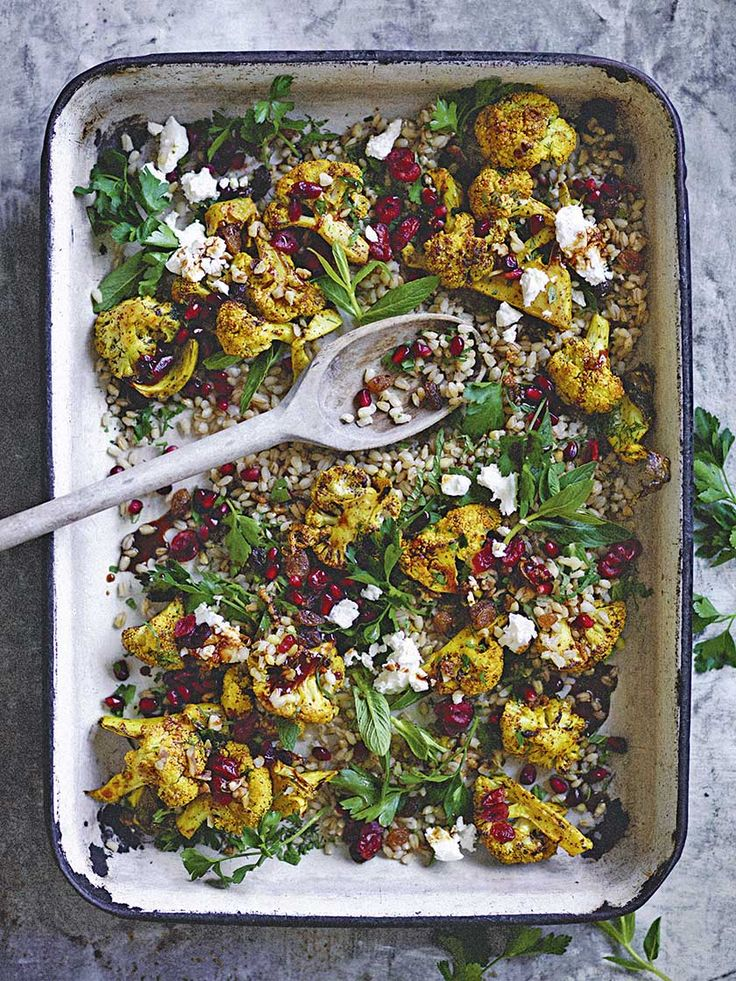 Pearl barley, roasted cauliflower and cranberry salad