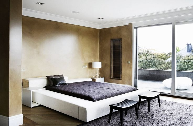 Bedroom, Fascinating Mediterranian Bedroom With Dark Pillows Brown Bed Linen Black Wooden Chairs And Black Colored Rug Carpet: Amazing Minimalist Interior Design Ideas for Your Bedroom