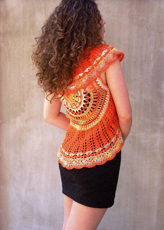 Sunshine Mandala Hand Crocheted Lace Vest by HEraMade on Etsy, $119.00 #bohostyle #bohochic #bohovest #mandalavest #mandala #fashioncrochet