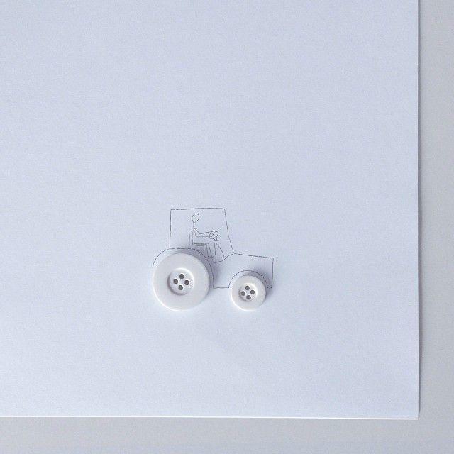 #tractor #botón #button #stickman #drawing #dibujo #illustration #ilustración #creative #creatividad #minimalism #minimal #simple #conceptual #art #igers #igersbcn #igersgranada #normanmente