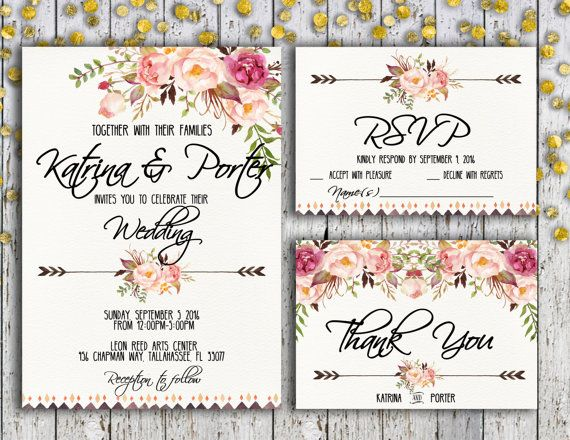 Beautiful printable of invitation suite includes:  -5x7 Wedding Invitation (fits inside A7 envelope) -3.5X5 Thank You Card (fits inside A6 envelope) -3.5x5 RSVP (fits inside A6 envelope)  This listing contains jpeg files for sending digitally and pdf file for printing purposes. The pdf is of two copies of a 5 x 7, in for 8.5 x 11 in paper and four copies of rsvp and thank you cards. The files are duplicated to lower printing costs for customers. You will receive a digital file meaning there…