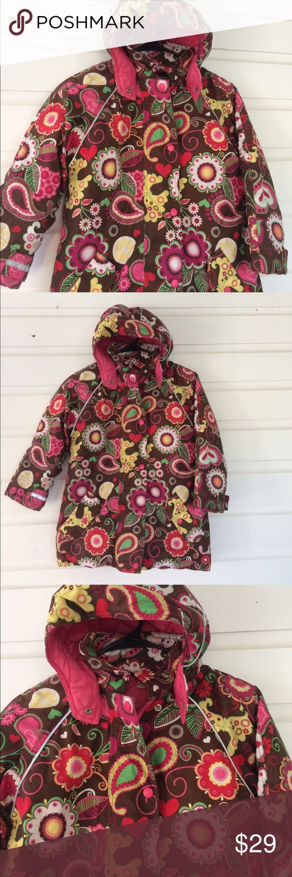 Hanna Andersson Pink Brown Paisley Butterfly Parka Colorful joy! I love Hanna Andersson for their fun plays on color and design. Great for any little feminist in the making, she loves pink (because, yes!) but doesn't bat an eyelash when faced with a huge Lego set. The parka is a winter grime hider! Quilted pink lining. Excellent condition but it has been tagged with name and phone number. Will need to be covered and re-identified. Similar to the Journeys End Jacket. HA Size 120/6-7 Hanna…
