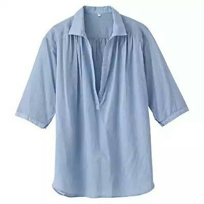 Muji Organic Strong Twisted Gauze Half Sleeve Tunic Light Blue L | Cool Touch Material Made From Finely Twisted Yarn
