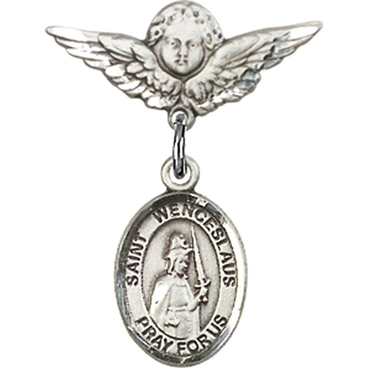 Sterling Silver Baby Badge with St. Wenceslaus Charm and Angel w/Wings Badge Pin 7/8 X 3/4 inches ** See this great product.