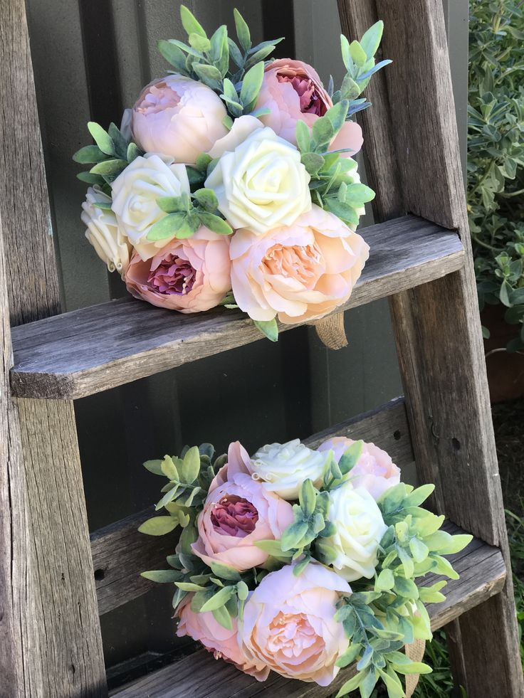 Peony and Rose artificial bridesmaid bouquets