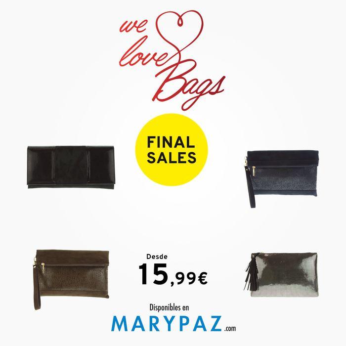 ¡ Las segundas REBAJAS de MARYPAZ disponible también en nuestra colección de bolsos !  Aprovéchate de las REBAJAS de MARYPAZ desde 15,99 € en estos bolsos en TIENDA y ONLINE www.marypaz.com   #locaporlosbolsos#welovebolsos   Encuentra todos los bolsos en nuestra web aquí: http://www.marypaz.com/tienda-online/bolsos.htm