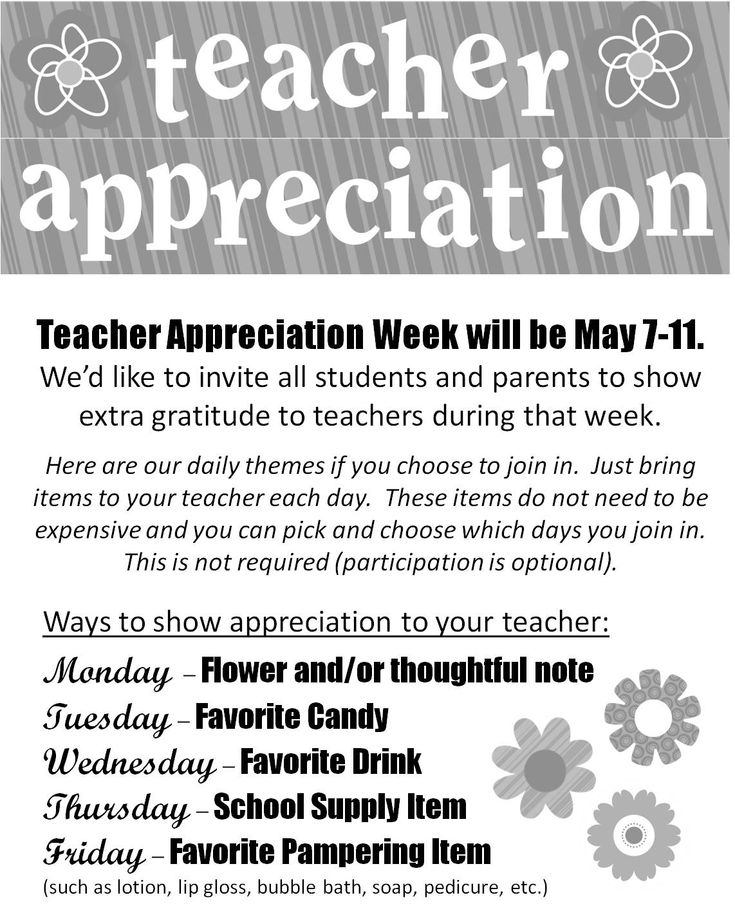 Great idea for celebrating a teacher everyday during Teacher Appreciation week