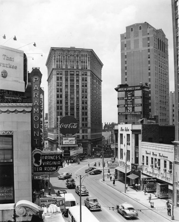 Atlanta: 1950s view of the intersection at Peachtree, Pryor and Forsyth Streets.