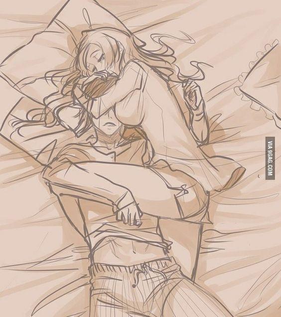 anime, couple, cuddle, cute, funny, sleeping