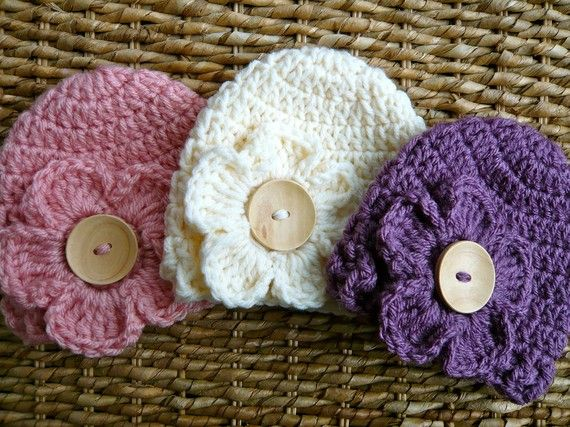 LOVE!!!  Crocheted Baby Flower Hats  Newborn Girl  Set by JacquelynVaccaro, $38.00: Flowers Hats, Flower Hats, Girls Sets, Newborns Girls, Flowers Baby, Crochet Baby, Baby Flowers, Baby Hats, Hats Newborns