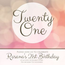 Free printable DIY birthday invitations made by you in Desygner! Perfect for a young lady's 21st. Get the template with Desygner to create one perfect for your party.
