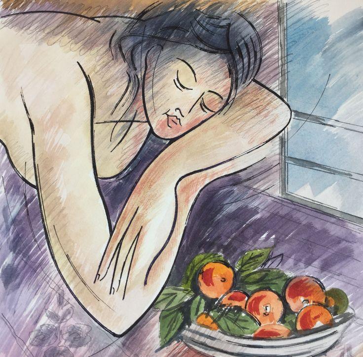 Mujer con manzanas. Acuarela-Fina Fuertes