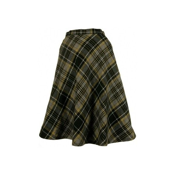 70s Black & Yellow Plaid Wool A-Line Skirt - Vintage clothing from... ❤ liked on Polyvore featuring skirts, bottoms, knee length a line skirt, vintage skirts, checkered skirt, tartan skirt and yellow tartan skirt
