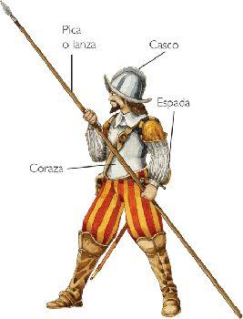 Los Tercios Españoles | No existió nunca una verdadera uniformidad en vestimenta. El equipo más habitual comprendía una ropilla (vestidura corta sobre el jubón), unos calzones, dos camisas, un jubón, dos medias calzas, un sombrero de ala ancha y un par de zapatos, pero cada hombre podía vestir como quisiera si se lo pagaba de su bolsillo. En cuanto a las armas, los soldados recibían las que les daba el rey (Munición Real), que se descontaban de futuras pagas