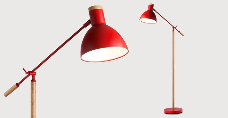 Cohen Floor Lamp, Red and Natural Oak