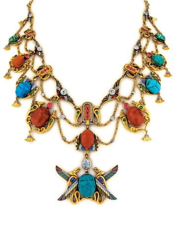 19th Century French Scarab Gem Set Egyptian Revival Necklace