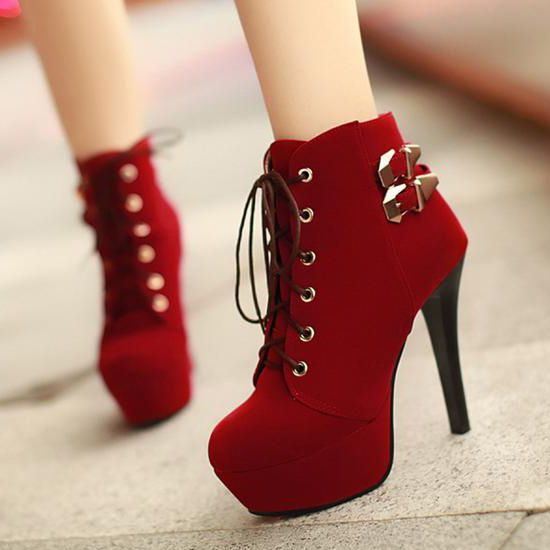 Hot Red Platform High Heel Boots  I Love Boots Like These. They'd Go Great With A Solid Black Mermaid Dress