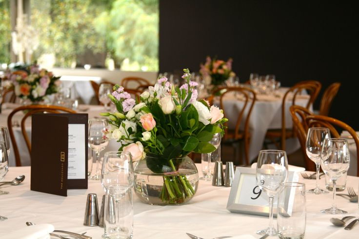 Table arrangements for a wedding reception