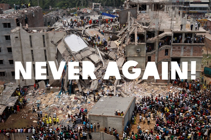 Our thoughts are with everyone affected by the tragic building collapse in Bangladesh. We can't let this happen again! Use your voice - let your favourite retailers know that as a customer you want to make sure the people who made your clothes are decently paid and working in safe conditions. And please REPIN to show your support.