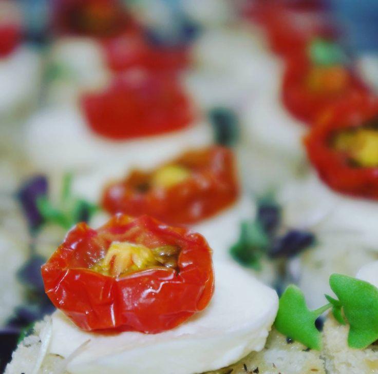 Bocconcini, candied cherry tomato, purple basil, sourdough crouton #canape #wedding #wigrambaseweddings #christchurch #nz #wigrambase