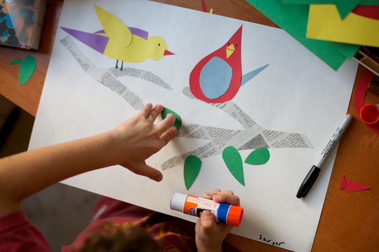 """""""Art School"""" - Charley Harper art project - shapes, color, cutting, gluing"""