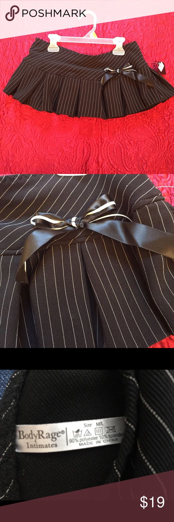 Micro Mini Skirt Pinstriped School Girl Micro Mini Skirt W/ Pleats And Hip Bow Size M/L Body Rage Intimates Skirts Mini