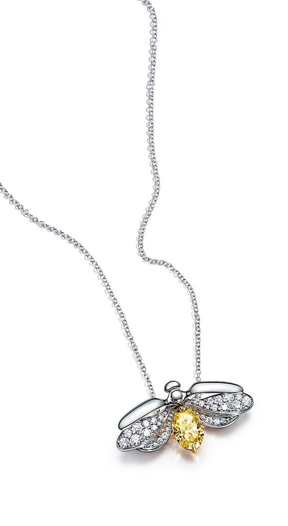 e9b9e807c3db Tiffany Paper Flowers™ yellow diamond firefly pendant in platinum.