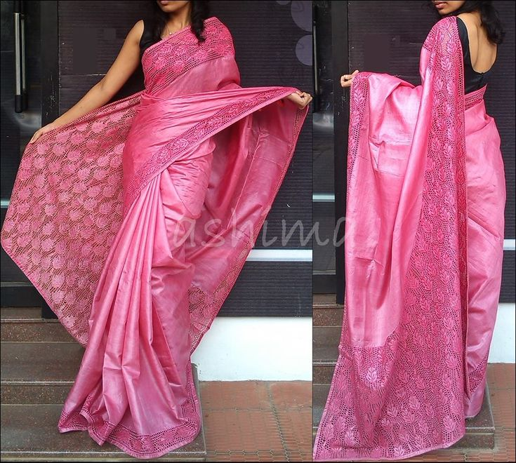 Tussar Silk With Cutwork - Dark PinkCode:2003152  Delivery in 4 weeks For this saree please contact us by messaging our Inbox in FB / mailing us at ashima.retail@gma... or calling us at +91 484 4044800