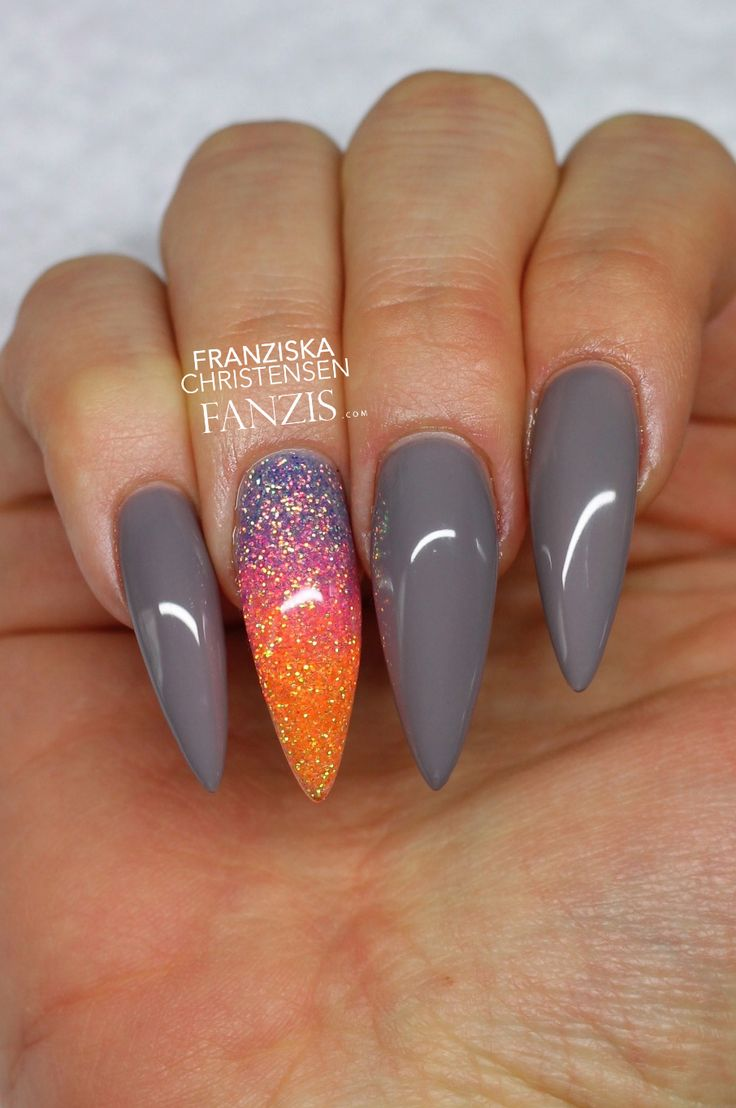 nude grey neon glitter stiletto long nails