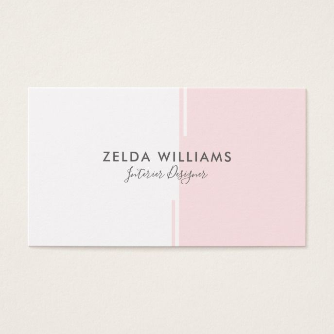 Minimalistic Geometric Pink & White Lines & Shapes Business Card | Zazzle.com