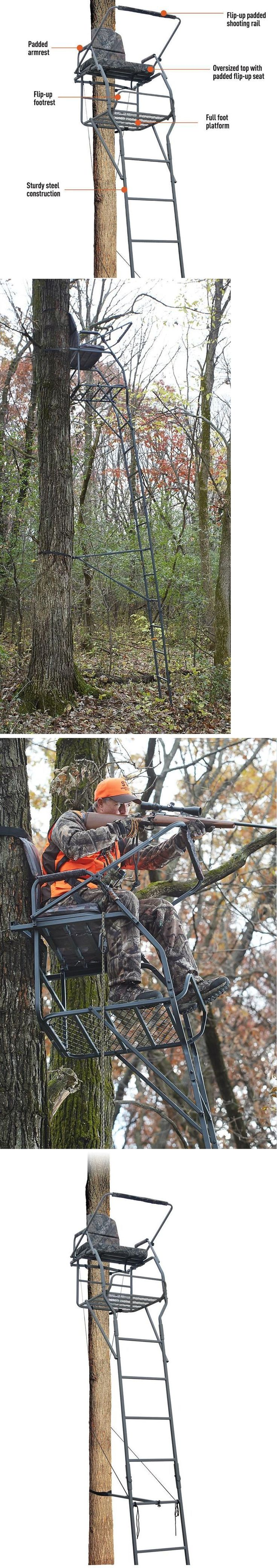 Tree Stands 52508: 18 Jumbo Ladder Tree Stand Xl Wide Seat Deer Bow Rifle Hunt Comfortable Hunting BUY IT NOW ONLY: $159.75