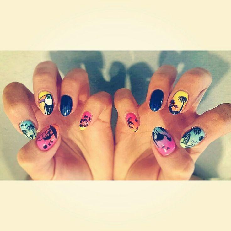 Summer icon design nails. Tucan, palms, surfer.  https://instagram.com/holla_jazzy/