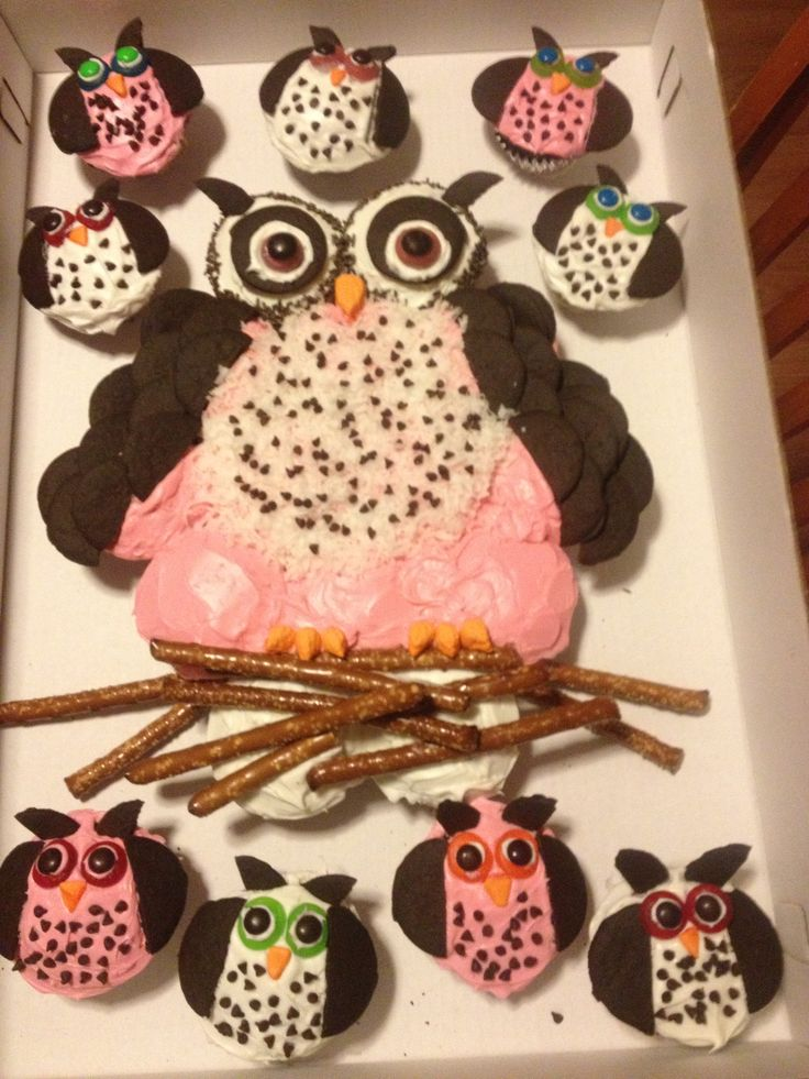 Fancy owl cupcake cake for Katie's baby shower...it's a girl!