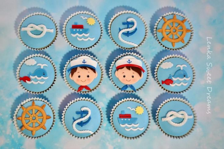 Nautical cupcakes for two little twins . by LenkaSweetDreams